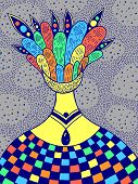 Hand Drawncolorful Psychedelic Illustration With The Alien Surreal Girl. Abstract Fantastic Art. Vec poster