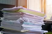 Piled Heap High Recycle Documents Folders, Stack Business Paper On Desk Messy Or Paperwork In Office poster