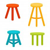 Three legged stool set. Clipart image isolated on white background poster
