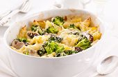 casserole with broccoli and mushrooms