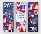 Usa Independence Day. Three Vertical Banners With Waving American National Flags And Fireworks. 4th  poster