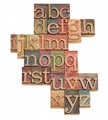 alphabet - abstract of vintage wooden letterpress printing blocks stained by color inks, isolated on