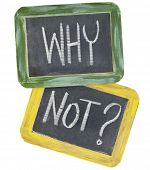 why not question or speculation  - white chalk text on two vintage slate blackboards, isolated on wh