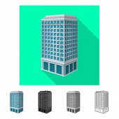 Vector Illustration Of Skyscraper And House Icon. Set Of Skyscraper And Hotel Stock Vector Illustrat poster