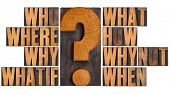 brainstorming or decision making concept - who, what, where, when, why, how, whatif and why not ques