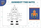 Dot To Dot Kids Game Vector Illustration. Preschool Children Drawing Activity With Connecting Dots F poster