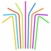 Colorful drinking straws. Vector.