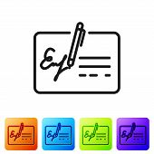 Black Signed Document Line Icon Isolated On White Background. Pen Signing A Contract With Signature. poster