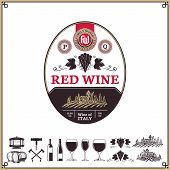 Red Wine Vintage Label And Icons poster