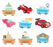 Super Car Icon Set. Cartoon Set Of Super Car Icons For Web Design Isolated On White Background poster