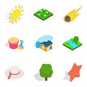 Sunshine Icons Set. Isometric Set Of 9 Sunshine Icons For Web Isolated On White Background poster