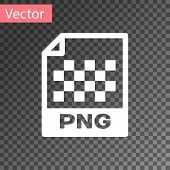 White Png File Document Icon. Download Png Button Icon Isolated On Transparent Background. Png File  poster