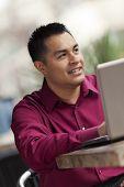 Hispanic Businessman - Cafe Laptop Working