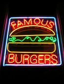 Famous Burger Neon Sign