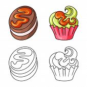Isolated Object Of Confectionery And Culinary Symbol. Collection Of Confectionery And Product Vector poster