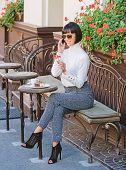 Pleasant Time And Leisure. Relax And Coffee Break. Woman Attractive Elegant Brunette Spend Leisure C poster