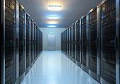 stock photo of mainframe  - Modern interior of server room in datacenter - JPG