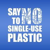 Say No To Single-use Plastic. Problem Plastic Pollution. Ecological Poster. Banner With Text And No  poster