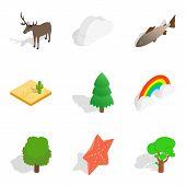Zoological Icons Set. Isometric Set Of 9 Zoological Icons For Web Isolated On White Background poster