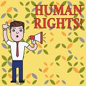 Text Sign Showing Huanalysis Rights. Conceptual Photo The Equality Of Fighting For Your Rights Indiv poster