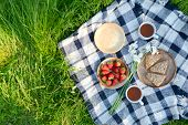 Picnic In The Park On The Green Grass With Berry, Cookies, Tea.  Picnic Blanket. Summer Holiday poster