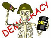 Democracy or oil - US soldier