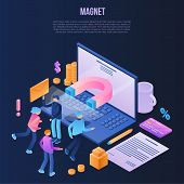 Magnet Attraction Concept Background. Isometric Illustration Of Magnet Attraction Vector Concept Bac poster