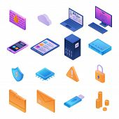 Firewall Security Icons Set. Isometric Set Of Firewall Security Vector Icons For Web Design Isolated poster