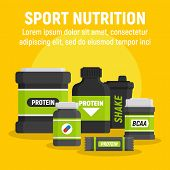 Product Sport Nutrition Concept Background. Flat Illustration Of Product Sport Nutrition Vector Conc poster