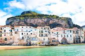 Amazing Old Houses On The Coast Of Tyrrhenian Sea In Beautiful Cefalu, Sicily, Italy. Behind The Bui poster