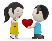 I love you my dear! Social 3D characters: boy giving his heart to the girl. New constantly growing c