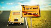 Street Sign Right Way Versus Wrong Way poster