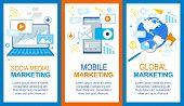 Social Media. Mobile Global Marketing Banner Set. Computer Smartphone Advertisement, Financial Strat poster