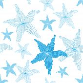 Seamless Background With A Nautical Theme. Blue Starfish Starfish On A White Background.  Vector Ill poster