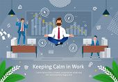 Calm Relax Spiritual Zen Balance In Business Concept Banner Vector Illustration. Businessman Doing Y poster