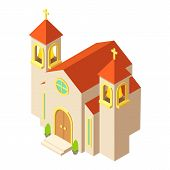 Protestant Church Icon. Isometric Illustration Of Protestant Church Icon For Web poster