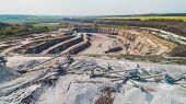 Aerial View Of The Granite Quarry. Development Of Granite Rock In Ukraine. Processing Plant For Crus poster