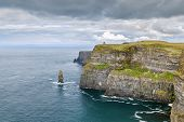 Cliffs Of Moher Are Sea Cliffs Located At The Southwestern Edge Of The Burren Region In County Clare poster