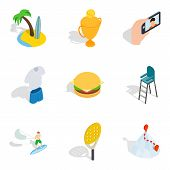 Comfortable Rest Icons Set. Isometric Set Of 9 Comfortable Rest Icons For Web Isolated On White Back poster