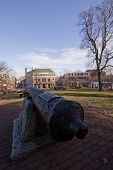 St. Mary's City Cannon on the grounds of the Maryland State House in Annapolis, MD. where the Maryland General Assembly convenes for three months a year.