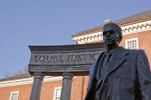 Bronze memorial statue of Thurgood Marshall, the first African American appointed to the U.S. Suprem