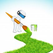 illustration of 3d man in vector fully scalable painting grass road