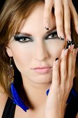 image of nail-design  - The face of girl with beautiful make - JPG