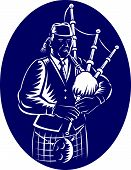 stock photo of bagpiper  - Illustration of a bagpiper playing Scottish Highlands Bagpipes done in retro woodcut style facing side set inside ellipse - JPG