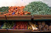 Various Kinds Of Vegetables On Market Display