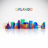 Orlando Skyline Silhouette In Colorful Geometric Style. Symbol For Your Design. Vector Illustration. poster