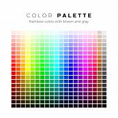 Colorful Palette. Set Of Bright Colors Of Rainbow Palette. Full Spectrum Of Colors With Brown And Gr poster