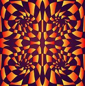 Psychedelic Trippy Colorful Abstract Ornament, Gradient Bright Orange, Yellow, Colors Outline, On Da poster