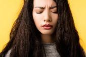 Woman Face Closeup. Frowning Eyes Closed. Pain Ache Strain Facial Expression. Discomfort Headache Sp poster