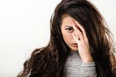 Depression Trouble Problem. Young Woman Looking Camera. Hand Hair Covering Eye. Intense Look Fixed G poster